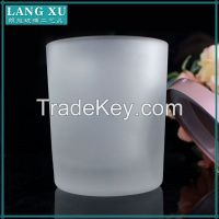 white color custom frosted glass candle jars with wood lid
