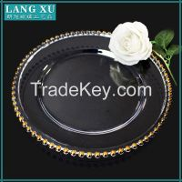 wholesale rose gold glass charger plates wholesale