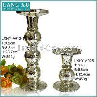 long stem silver mercury glass candle holder