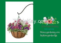 "Black Traditional Hanging Basket with Coco Liner, 14"" Diameter hanging"