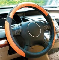 Black beige orange genuine leather and mesh Car steering wheel cover universal 15 inch