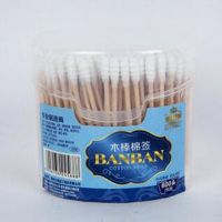 300PCS spring-box wooden stick cotton buds for make-up mover