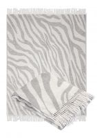 Wool  Throw Blanket with fringe  55x79 (Twin) in jacquard animal design, Medium Weight, made in Europe By Yaroslav Mill.