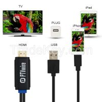 PLUG AND PLAY 8pin HDMI Adapter Lighning Cable HDTV AUDIO for iPhone