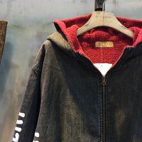 New Arrival Doodle Print Fashion Denim Coat Korean Hooded Black Overcoat