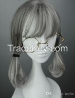 Silver white hair wig Queen Princess Palace COS braid aristocratic lon