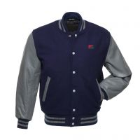 Navy/Grey Wool Varsity jackets with leather sleeves