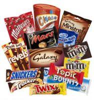 Snickers, Mars, Twix, Bounty, M&M, Twix, Lion, Knopper Chocolate Bars