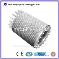 High efficiency motor rotor and stator stacked iron core