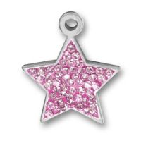 Pewter Pink Crystal Star Charm