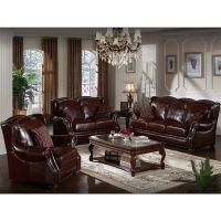A Set Of Sofa Black Brown Pure Coffee Color Elegant Noble style comfortable feeling
