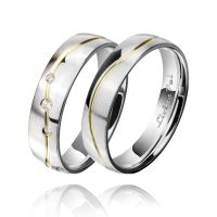 Living Pal Gold plated Line Polished & Matte Finished Platinum Plated Diamond Silver couple Ring Wedding Bands