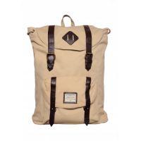 Heavy Canvas Mens' Backpack (Beige / Brown)