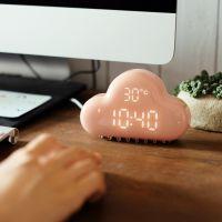 Original Design Cloud Alarm Clock,Digital Geometric Mint Voice-activated LED Wall Clock, rechargeable Cloud Alarm Clock