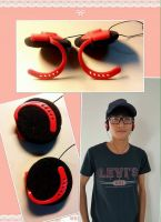 Red & black clip-on headphones with ear-pads