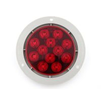 "LED 4"" Sealed Round Stop, Turn, Tail Light With Flange and Plug -  Red"