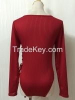 Sexy Wine Red Long Sleeve Bodysuit
