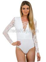 White Long Sleeve Lace Bodysuit