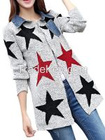 Fashion Grey Women Star Coat