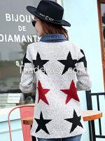 Fashion Grey Women Star Coat