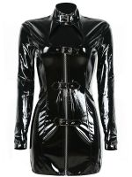 2017 New Arrival Sexy Women Black Vinyl Women Long Sleeve Dress Mini Dress