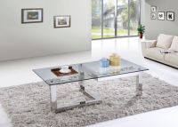 SHIMING FURNITURE MS-3353 Tempered glass with stainless steel coffee table