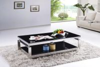 SHIMING MS-3353 Modern black tempered glass with stainless steel coffee table