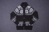 Men's 70% Acrylic 30% Wool knitted mock neck and long sleeve jacquard cardiganigan