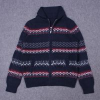 Men's 70% Acrylic 30% Wool Knitted Jacquard Cardigan