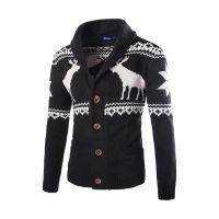 Men's70% Acrylic 30% Wool Knitted Jacquard Cardigan
