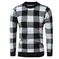 Men's 70% Acrylic 30% Wool Knitted Check Jacquard Pattern Pullover