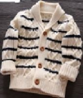 Boy's 100% Cotton Shawl Neck with Stripe and Fisherman Pattern Cardigan