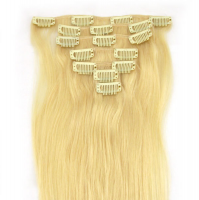 Clip in Remy Hair Extensions 613 Blonde Hair 7pcs/Set 20 inch 70grams Free Shipping