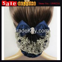 Pearl Satin Barrette Lady Hair Clip Cover Bow Bun Snood Hair Jewely