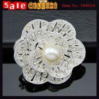 Wedding Silver Plated Pearl Rhinestone Flower Bouquet Brooch Jewelry