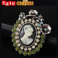 Crystal Green Rhinestone Flower Cameo Brooch Pin Jewelry Gift Wholesal