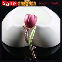 Enamel Rose Flower Crystal Rhinestone Pink Flower Bud with Green Leaf