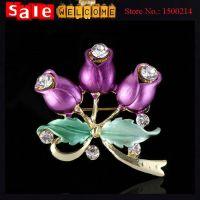 Crystal Enamel Flowers With Leaf Brooch Drip Brooches Bouquet  ewelry