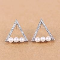 Dormy Story 925 Sterling Silver Simple fashion equilateral triangle with Drills and Pearls Stud Earrings for Lady