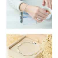 Dormy Story 925 Sterling Silver Simple Fashion Geometric Bar Stick Chain Double Strand Bracelet Jewerly as Gift