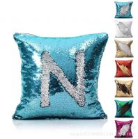 "Two Colors Decorative Mermaid Pillow Reversible Sequins Pillow Cases Cushion Cover 16 X 16""(40x40cm)"