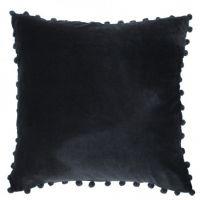 Arabella Black Velvet Pom Pom Cushion