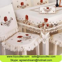 Handmade Cutout Embroidered Dining Table Cloth Chair Cover Set Beige