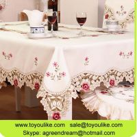Handmade Cutout Exquisite Embroidered Decorative Dining Table Cloth Set Chair Cover Table Runner Cushion Cover