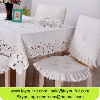 White Embroidered Cutout Dining Table Cloth Set for Home Decor