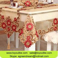Handmade Cutout Double Embroidered Organdy Dining Tablecloth Set