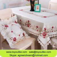 Handmade Cutout Floral Embroidered Satin Fabric Dining Table Cloths Set