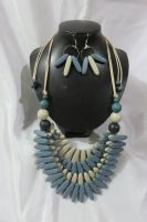 LCS-170054=A Set of 36 inches Bib Necklace and Dangle Hoop Hook Earrings