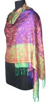 KSS-1025 Superfine Silk with Purple and Beige Color hand made fringes Jacquard women Silk Scarf