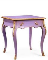 French Hand Painted Table in Louis Xv Style with One Drawer